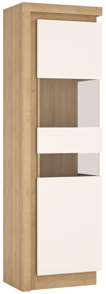 Lyon Tall Narrow Right Hand Facing Display Cabinet - Riviera Oak and High Gloss White