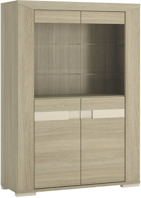 Madras Champagne Melamine Glazed Display Cabinet - 4 Door