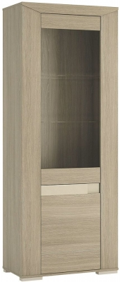 Madras Champagne Melamine Glazed Display Unit - Tall Narrow Left Hand