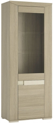 Madras Champagne Melamine Glazed Display Unit - Tall Narrow Right Hand