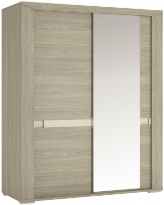 Madras Champagne Melamine Sliding Wardrobe - 165cm with Mirror Door