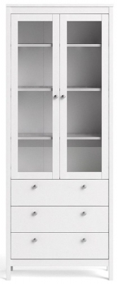 Madrid White 2 Glass Door Display Cabinet