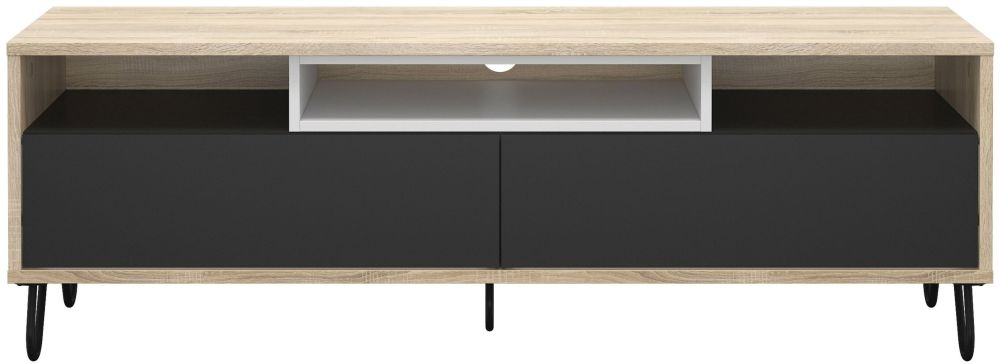 Match TV Unit - Oak with Dark Grey and White