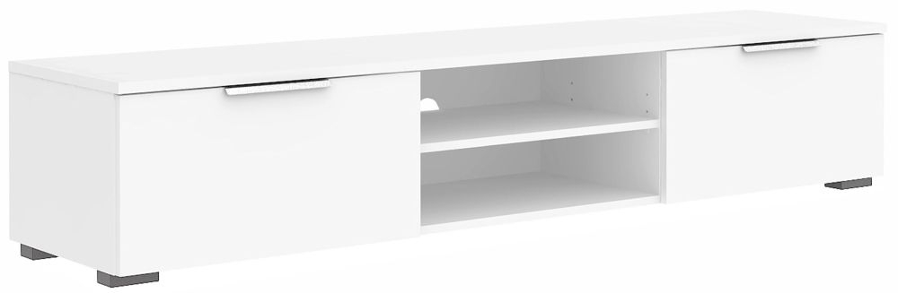 Match Wide TV Unit - White High Gloss