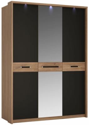 Monaco 3 Door with Mirror Wardrobe - Oak and Matt Black