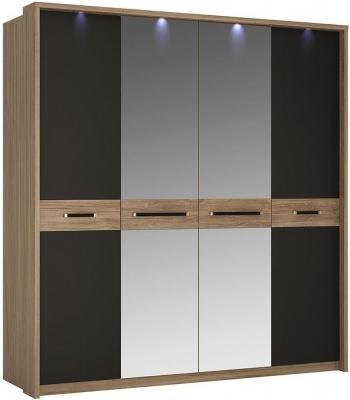 Monaco 4 Door Wardrobe with Mirror - Oak and Matt Black