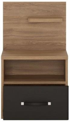 Monaco Right Hand Facing 1 Drawer Bedside Cabinet - Oak and Matt Black