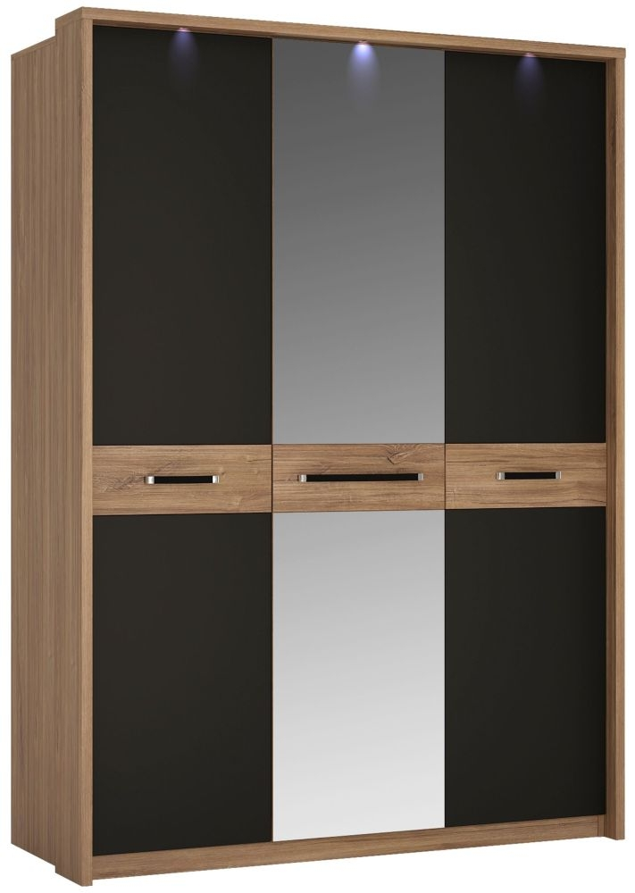 Monaco 3 Door with Mirror Wardrobe - Oak and Matt Black