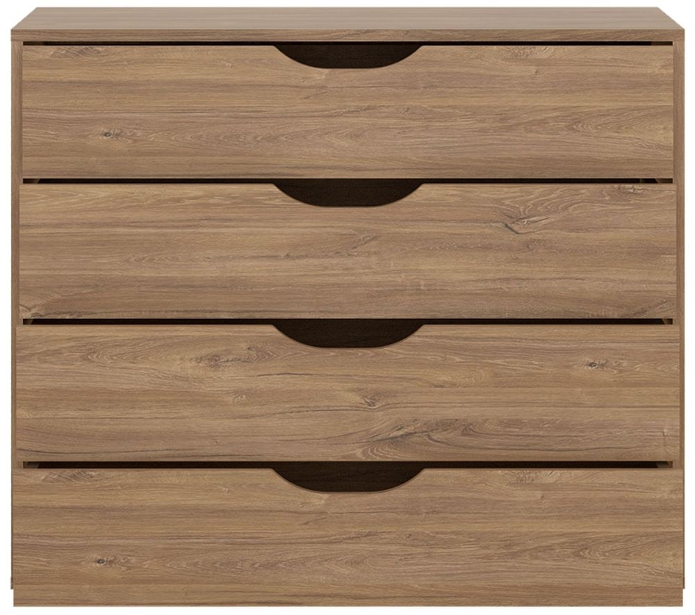 Monaco 4 Drawer Chest - Oak and Matt Black