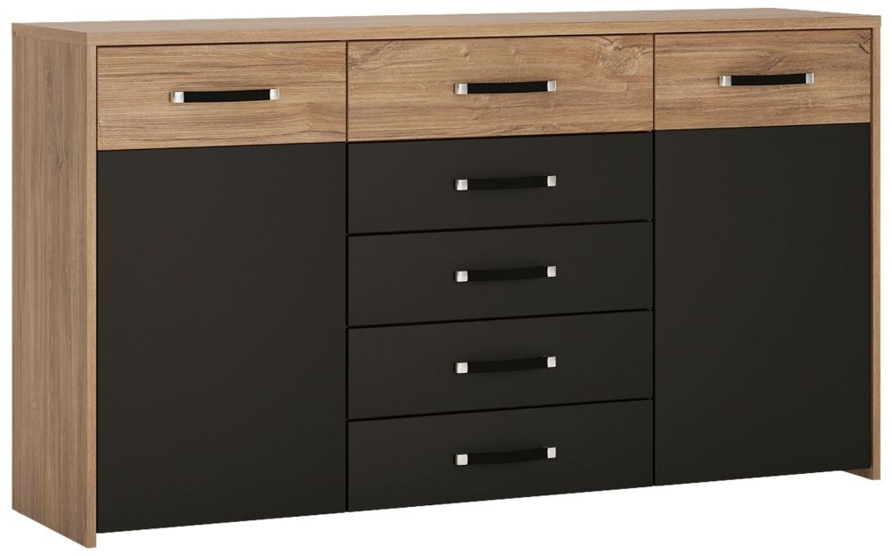 Monaco Cupboard - Oak and Matt Black