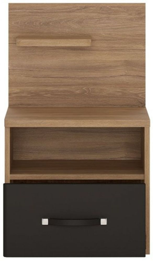 Monaco Left Hand Facing 1 Drawer Bedside Cabinet - Oak and Matt Black