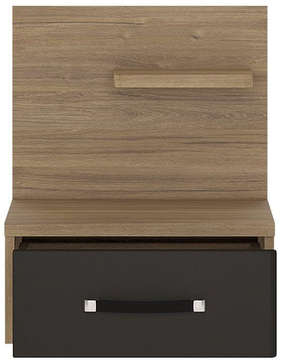Monaco Oak and Matte Black Left Hand Bedside Cabinet - 1 Drawer