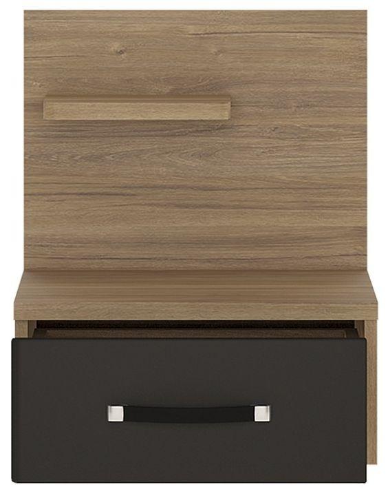 Monaco Oak and Matte Black Right Hand Bedside Cabinet - 1 Drawer
