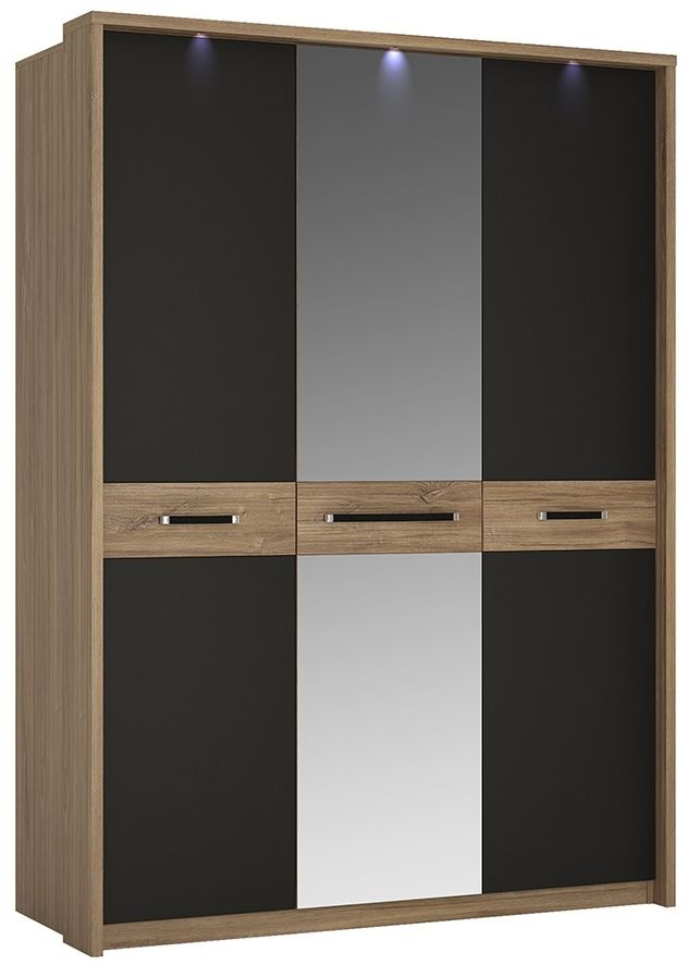Monaco Oak and Matte Black Wardrobe - 3 Door with Mirror