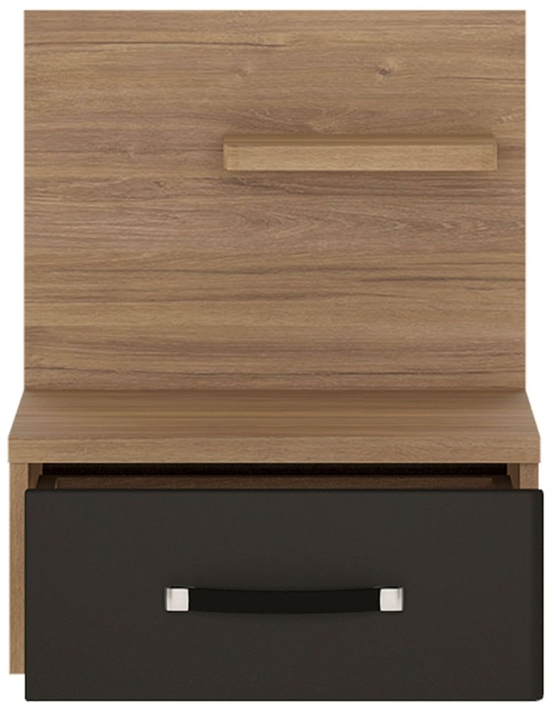 Monaco Right Hand Facing Bedside Cabinet - Oak and Matt Black