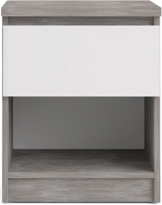 Naia Concrete and White High Gloss 1 Drawer Bedside Cabinet