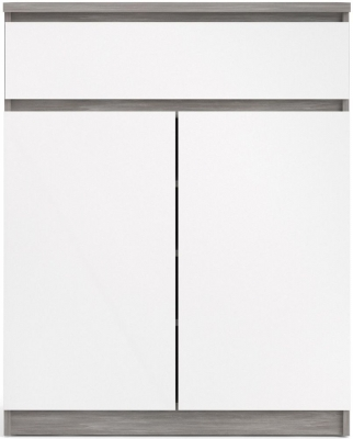 Naia Concrete and White High Gloss 2 Door 1 Drawer Sideboard