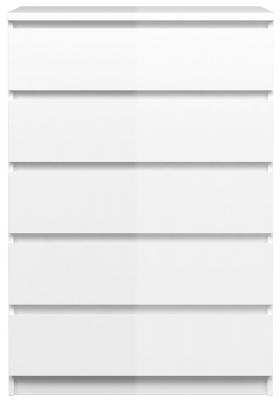 Naia White High Gloss 5 Drawer Chest