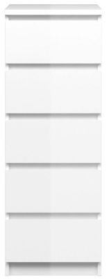 Naia White High Gloss 5 Drawer Narrow Chest