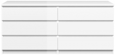 Naia White High Gloss 6 Drawer Chest
