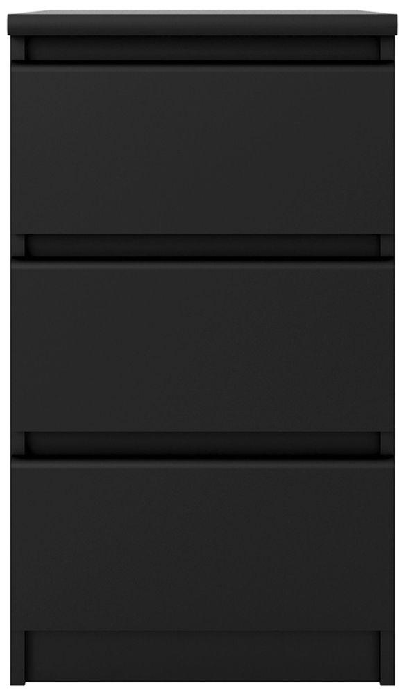 Naia Black Matt 3 Drawer Bedside Cabinet