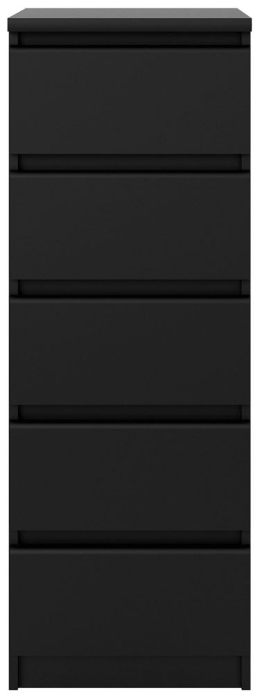 Naia Black Matt 5 Drawer Narrow Chest