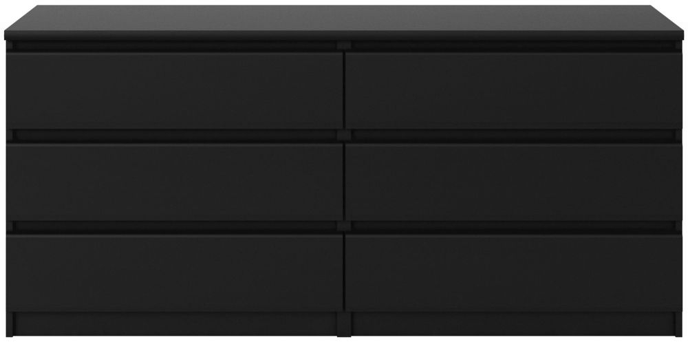 Naia Black Matt 6 Drawer Wide Chest