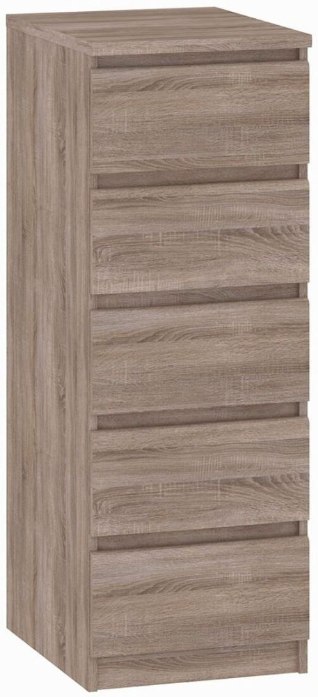 Naia Truffle Oak 5 Drawer Narrow Chest
