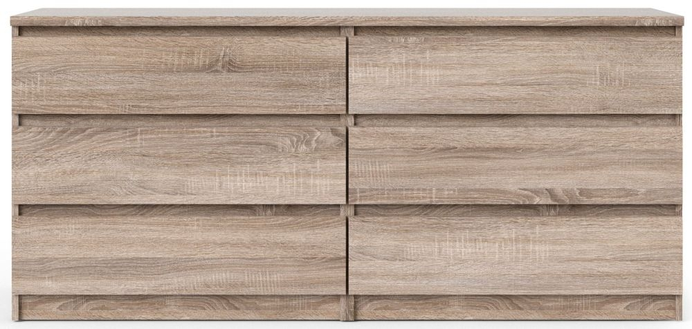 Naia Truffle Oak 6 Drawer Wide Chest
