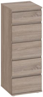 Nova Truffle Oak 5 Drawer Narrow Chest