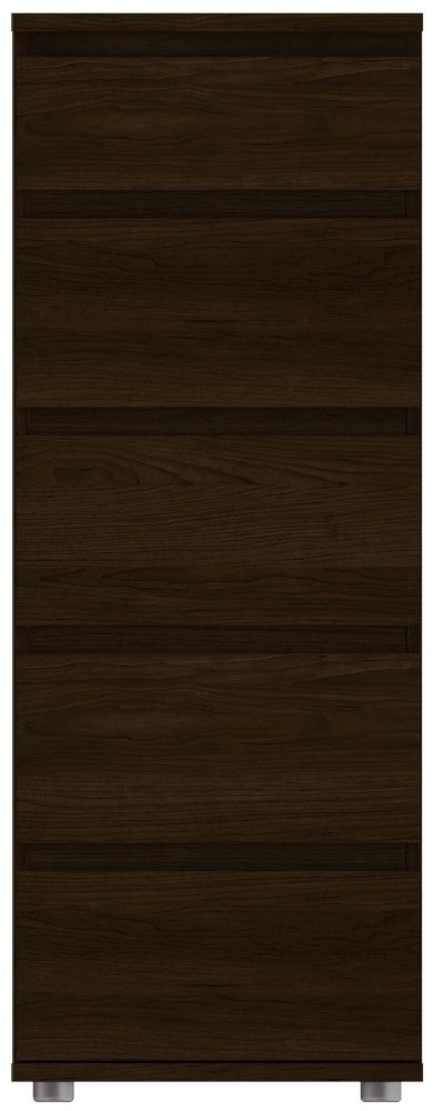 Nova Dark Walnut 5 Drawer Narrow Chest