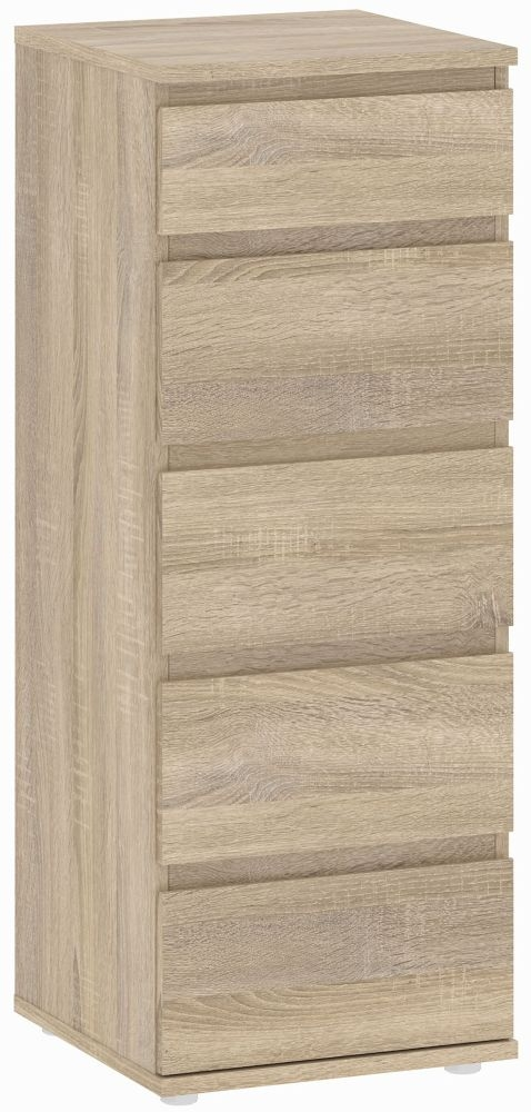 Nova Oak 5 Drawer Narrow Chest