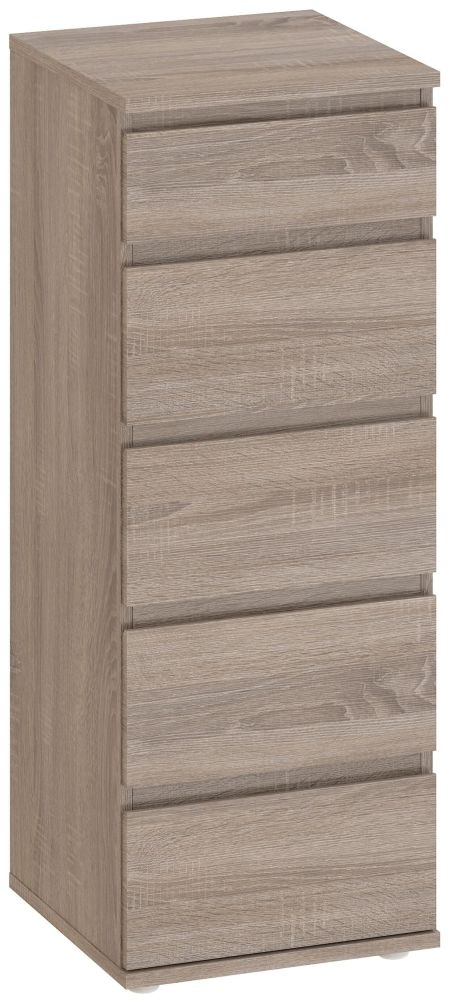 Nova Truffle Oak 5 Drawer Narrow Chest