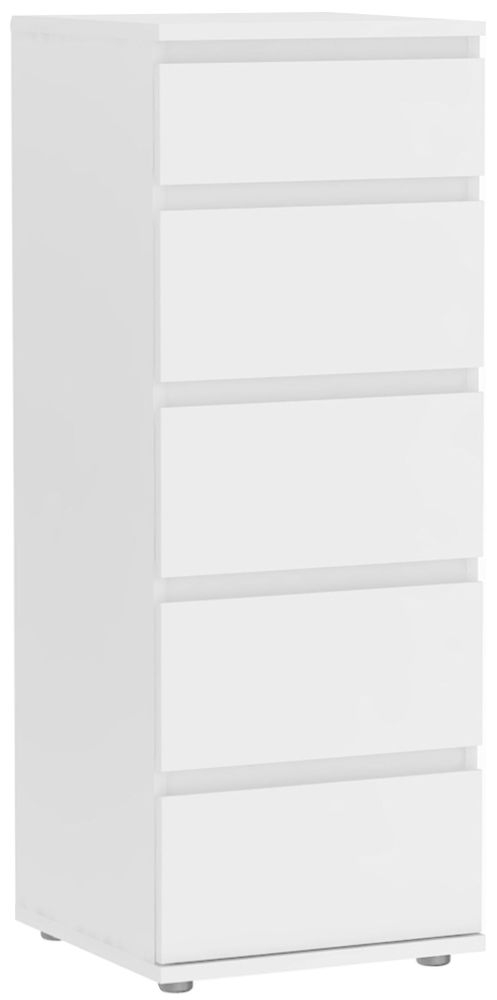 Nova White 5 Drawer Narrow Chest