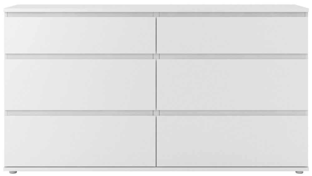 Nova White 6 Drawer Wide Chest