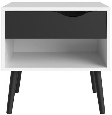 Oslo Bedside Cabinet - White and Black Matt