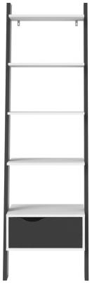 Oslo Leaning Bookcase - White and Black Matt
