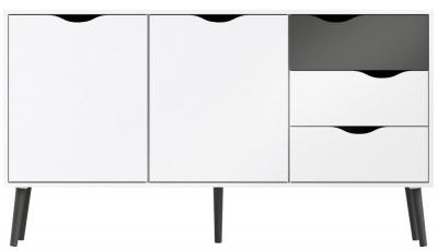 Oslo Wide Sideboard - White and Black Matt