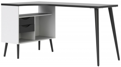 Oslo Desk - White and Black Matt