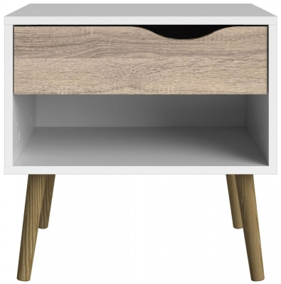 Oslo Bedside Cabinet - White and Oak