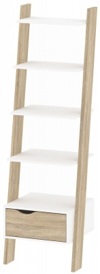 Oslo Leaning Bookcase - White and Oak