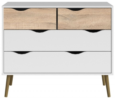 Oslo 4 Drawer Chest - White and Oak