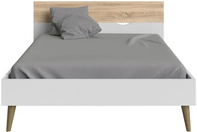 Oslo 4ft 6in Double Bed - White and Oak