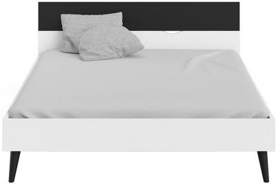Oslo 5ft King Size Bed - White and Black Matt