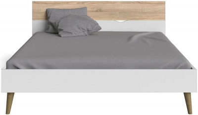 Oslo 5ft King Size Bed - White and Oak