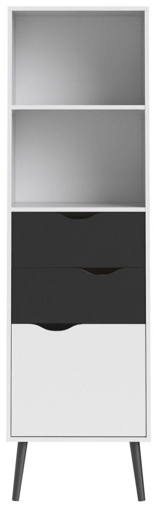 Oslo Bookcase - White and Black Matt