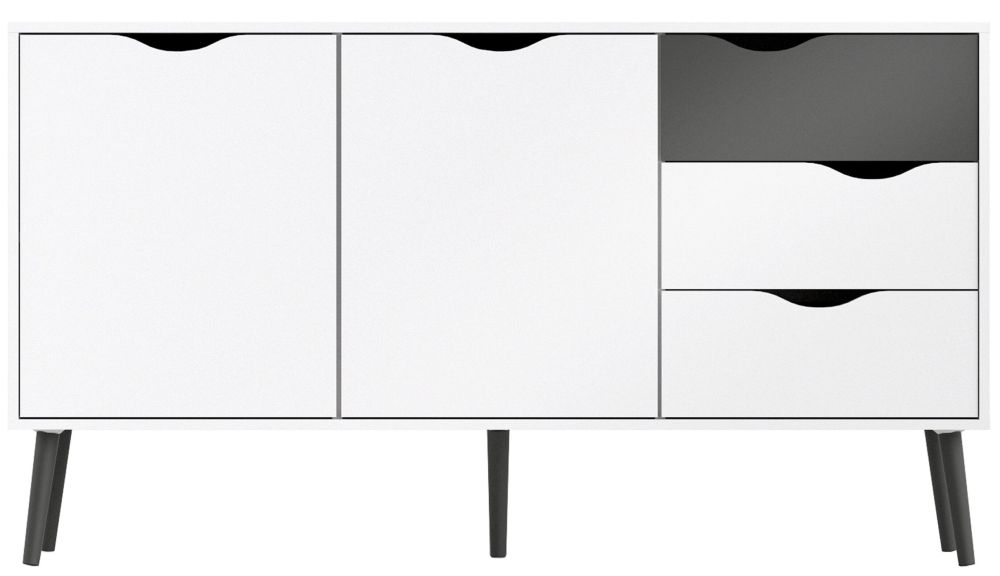 Oslo Wide Sideboard - White and Black Matt