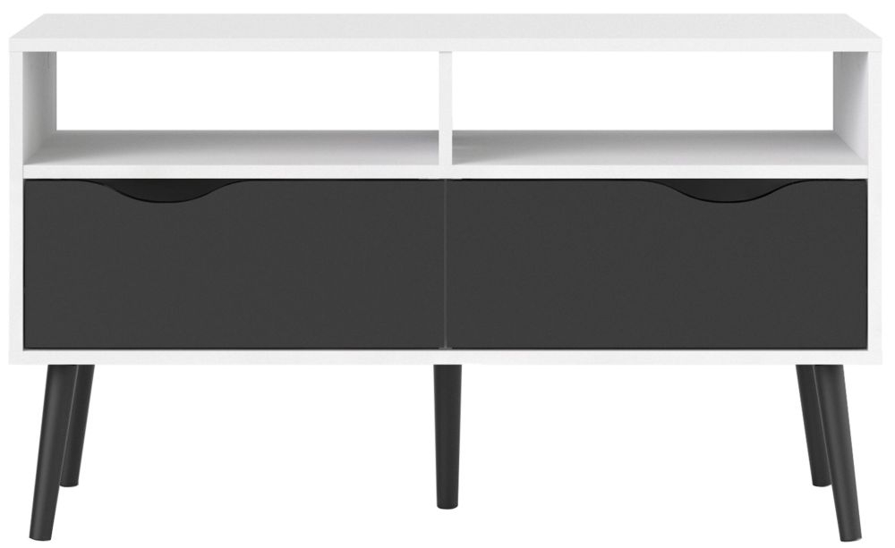 Oslo TV Unit - White and Black Matt