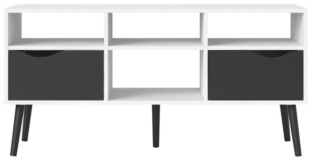 Oslo Wide TV Unit - White and Black Matt