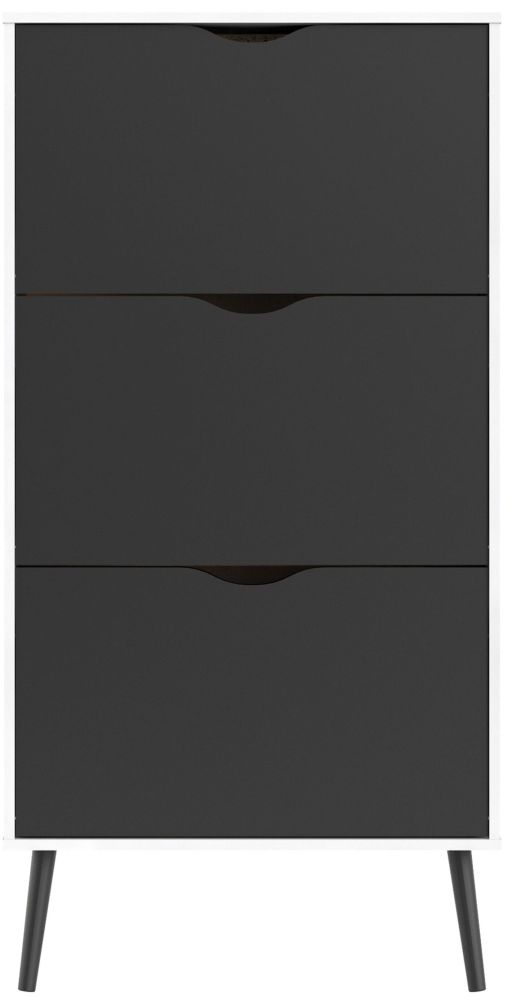 Oslo Shoe Cabinet - White and Black Matt